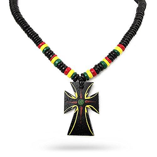 - JewelryVolt Fashion Necklace Wooden Beads Rasta Rastafari Cross Pendant Hand Crafted