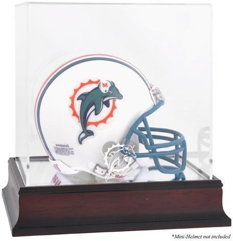 Miami Dolphins Mahogany Mini Helmet Logo Display Case