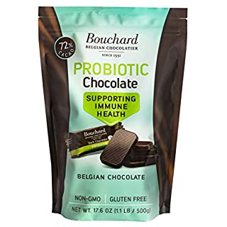 Bouchard Probiotic Chocolate - Supporting Immune Health - 72% Cacao Dark Belgian Chocolate (100 Pieces)