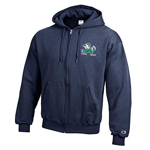 Elite Fan Shop Notre Dame Fighting Irish Zip Up Hoodie Sweatshirt Captain Navy - XL