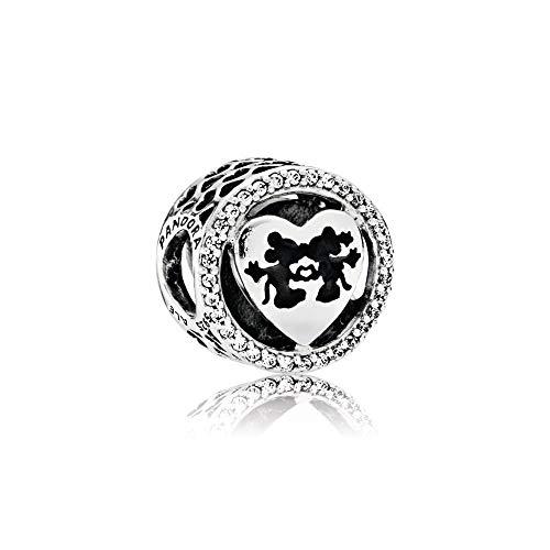 Disney Mickey Round Charm - Pandora Sterling Silver Disney's Mickey & Minnie Love Charm 791957CZ
