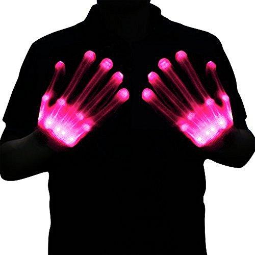 Halloween Costumes For Tween Boys (Led Dancing Skeleton Gloves, Hand Flashing Light Shows Halloween Costume, Novelty Christmas Gift (Pink))