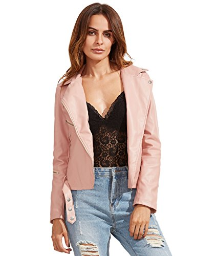 ROMWE Women's Vintage Leather Collar Long Sleeve Zipper Jackets Pink M