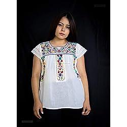 """Blusa mexicana con flores bordadas a mano""""Aletilla"""""""