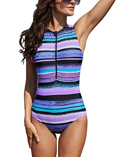 Sleeveless Rash Guard - Kalin Women Sleeveless Striped Print Zip Front Rash Guard One Piece Swimsuit Athletic Swimwear Purple