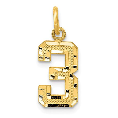 JewelrySuperMart Collection 14k Yellow Gold Diamond-Cut Number Three Charm Pendant - # 3 - Yellow Gold -Small