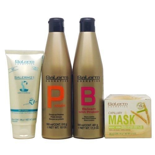 Salerm Combination Set Ii (Salerm Protein Shampoo 500 Ml ,Balsam Conditioner 500ml, Capillary Mask Wheat Germ200ml, 21 Leave in Silk Protein 200ml by Salerm