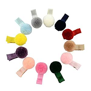 Coobbar 12 Colors 3.5cm Solid Fur Ball Safety Hair Clip Handmade Hair Accessories for Baby Girls Christmas Gift (Hair clip)