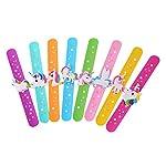 8pcs Unicorn Slap Bracelets Silicone Snap On Wristbands Novelty Bracelet Gifts Birthday Party Favors