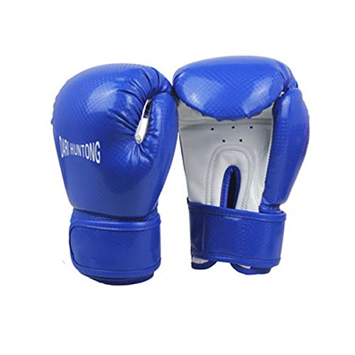 Artificial Leather Boxing Gloves - Jingfengtongxun Boxing Gloves, Children's Professional Boxing Training Gloves for Kids Ages 4-15, Premium, Black, 6oz Stability (Color : Blue, Weight : 6oz)