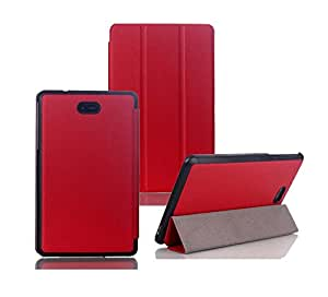 Tsmile® Luxury Slim 3 Folding Handmade Magnetic Smart PU Leather Case Cover For Dell Venue 8 Pro (Red)