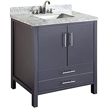 Cabinet with Soft Close Function and Undermount Ceramic Sink Carrara/White Kitchen Bath Collection KBC039WTCARR California Bathroom Vanity with Marble Countertop 48