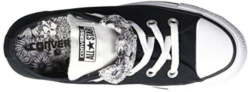 Converse Femmes Double Langue Floral Bas Haut Sneaker Noir / Blanc / Noir