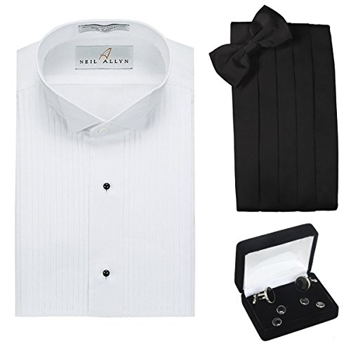 Tuxedo Shirt, Cummerbund, Bow Tie, Cufflink & StudsSet- Wing Collar, 2XL (18-18.5 Neck, 34/35 Sleeve)
