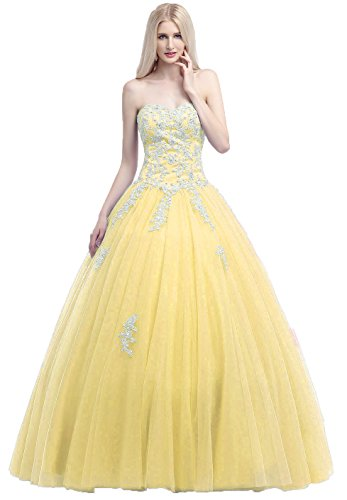 Okaybrial Women's Girls Prom Dresses Sweetheart Neck Tulle Appliqued Puffy Quinceanera Dresses
