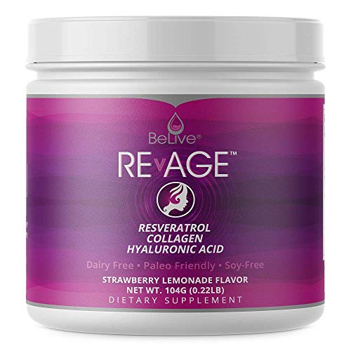 Hydrolyzed Collagen Peptides Powder with Resveratrol, Hyaluronic Acid, Vitaberry (Patented Ingredients) Anti Aging Supplement | Keto Friendly | Strawberry Lemonade Flavor