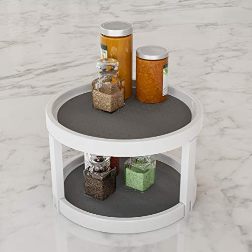 Lavish Home Lazy Susan - 9.75 Inch Diameter Plastic Round Two Tier Turntable Kitchen, Pantry and Vanity Organizer and Display with Non-Skid Liner