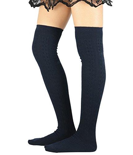 [Zando Women Cotton Knit Spiral Over The Knee Thigh High Long Stocking Socks J Navy blue] (Cute Army Girl Halloween Costumes)