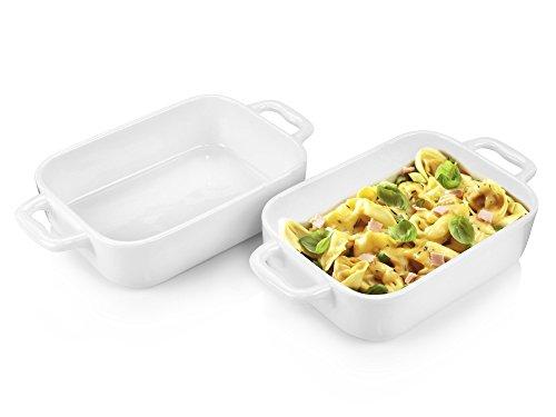Bluespoon Auflaufform Set aus Porzellan 2 teilig | Ideal geeignet für 2 bis 4 Personen | Füllmenge je 0,65 L | Individuell geeignet als Ofenform oder Gratinform