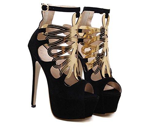 Pelle YCMDM delle cinghie di caviglia delle donne Combinazione del merletto dei pattini di cuoio romani Scarpe da polso dei sandali dell'inarcamento , black , 35