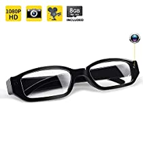 1080P HD Spy Camera Glasses - Covert Camera DVR, 8GB Memory Card Built-in, Support 32GB in Max