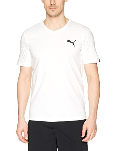 (PUMA Men's Iconic V-Neck Tee, White, L)