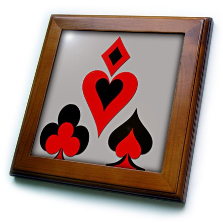 (3dRose 3D Rose Playing Cards. Heart. Diamond. Club. Spade. Cool Design. Grey. Popular. - Framed Tile, 8 by 8-inch (ft_218698_1))