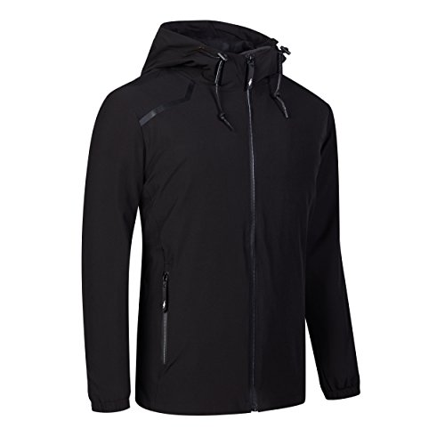 Womens Hiking Runing Jacket Winter Plus Size Water Resist Rain Jacket Coat Brethable Lightweight Outdoor Windbreaker Black XL