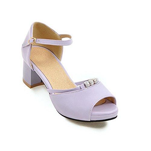 AN Womens Sandals Studded Peep-Toe Urethane Sandals DIU00685 Purple kltwt