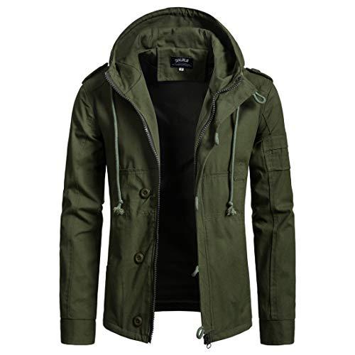 - Zolulu Men's Hooded Cotton Jacket, Drawstring Solid Full Zip up Cardigan Hoodie Coat Spring Autumn Windbreaker Outdoor Jacket ArmyGreen, XX-Large