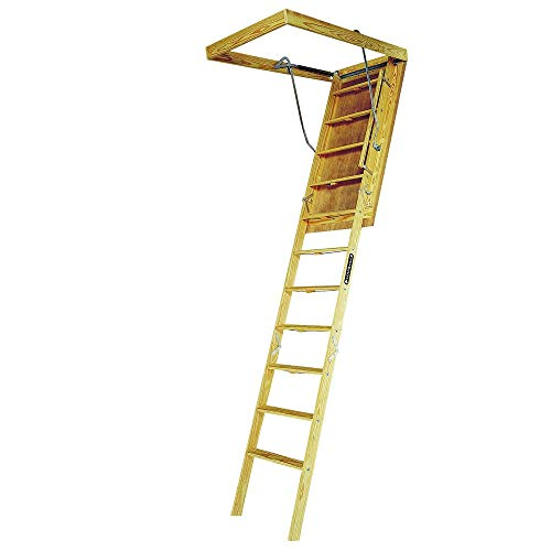 Louisville Ladder 30-Inch by 60-Inch Big Boy Wood Attic Ladder, 8-Foot-9-Inch Ceiling Height, 350-Pound Capacity, S305P