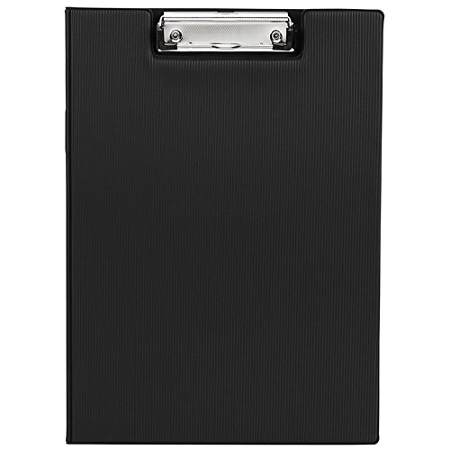 MyLifeUNIT Clipboard Folder with Pocket, Clipboard Padfolio File Folder, Letter Size or A4 Size (Black) Vinyl Clipboard