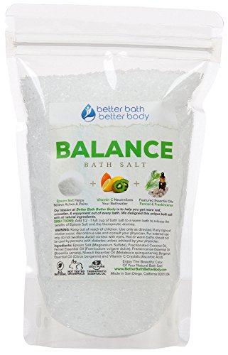 Balance Bath Salt 3-lbs (48oz) Epsom Salt With Frankincense & Fennel Essential Oils Plus Vitamin C Crystals - All Natural Ingredients Bath Soak