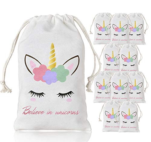 KREATWOW Unicorn Bags Party Favors Supplies - Reusable Party Candy Loot Bags for Girls Birthday Party Baby Shower 5 x 8 inches 10 Pack