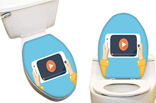SeptSonne Vinyl Decal rtoilet lid Watch Videos on Your Phone. Mobile Phone Video plaayer Screen. Stickers Creative Toilet Stickers 11