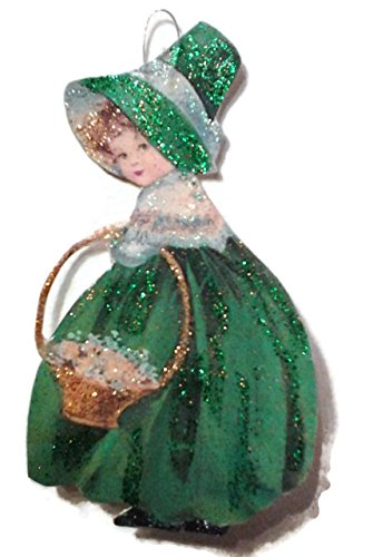 St Patrick's Day Ornament Decoration Lassie with Golden Basket Irish Handmade -