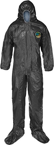 R Flame-Resistant Disposable Coverall with Hood and Boots, Elastic Cuff, 2X-Large, Slate Gray (Case of 6) (Chemical Resistant Suits)
