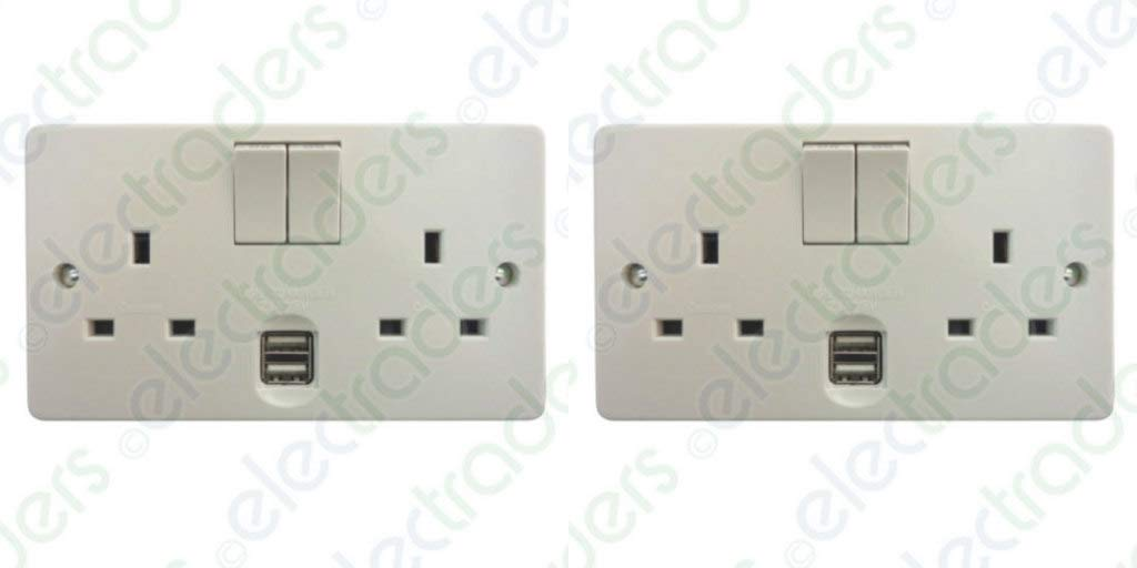 Pack of 2 x Crabtree 4306/USB/D Twin Switch Sockets 13 Amp with USB Outlets 2.1A