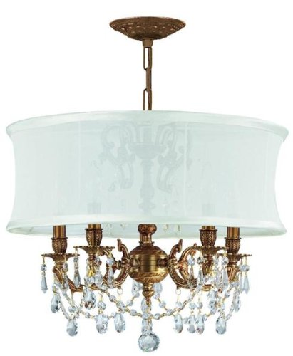 Cls Traditional Crystal Chandelier - Brentwood 5 Light Chandelier Finish: Aged Brass, Crystal Type: Swarovski Elements, Shade: Smooth Antique White