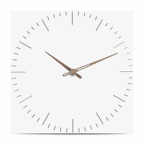 FlorLife Quartz Wall Clock, 12-Inch Simple Silent Wooden Square Clock Battery Operated Non-Ticking Easy to Read Large Decorative Wall Clocks for Home Kitchen Office School by FlorLife