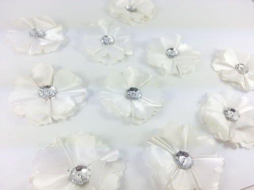 CraftbuddyUS 10 Gorgeous White Diamante Stick On, Sew on Fabric Flower Motifs, Craft, (Sew Fabric Flowers)