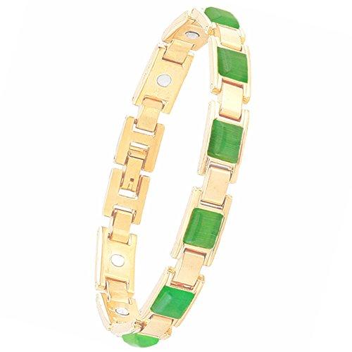Women Magnetic Therapy Opal Bracelets Health Copper Zinc Alloy Bracelet Pain Relief for Arthritis (Green)