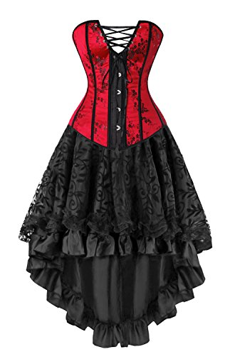 Kimring Women's 2 Pcs Graceful Vintage Burlesque Satin Floral Overbust Corset with Dancing Skirt Set Red/Black Small