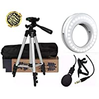 EUROMART Tripod, Selfie Ring Light and Collar Mic for Mobiles/PC/DSLR Cameras -Combo Pack of 3