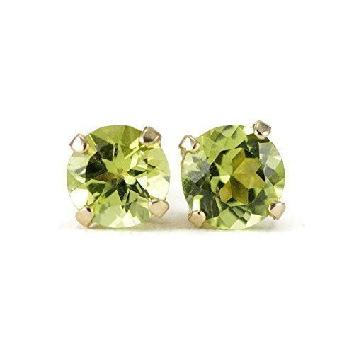Peridot Gold Studs - August Birthstone Earrings - 14k Yellow or White Gold, 4mm or 5mm -