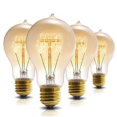 Vintage Edison Bulb, DORESshop A19 Dimmable 60W Edison Tungsten Light Bulb, Vintage Antique Incandescent Bulbs, Amber Glass, 360LM, Warm White E26 Edison Bulbs for Home Light Fixtures Decor (4 Pack)