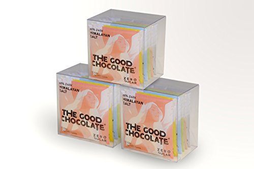 The Good Chocolate / Set of 3 x Square Gift Variety 6-pack / Zero sugar / Very Low Net Carb / 65% Dark, Almond, Ginger, Mint, Salt & 54% Milk Chocolate (3 X 6-pack of 0.4oz Squares)