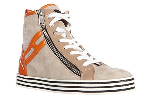 Hogan Rebel scarpe sneakers alte donna in camoscio nuove r182 rebel vintage zip