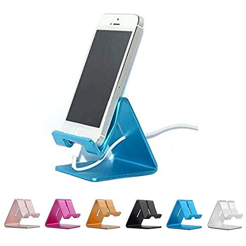 (Rumfo Cell Phone Stand, Universal Portable Aluminum Desktop Charger Mount Holder Metal Charging Dock Cradle for Nintendo Switch iPhone Samsung Android Smartphones and Tablets (Blue-1))