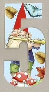 Wheelie Bin Numbers, Dustbin Numbers, Various Designs, Gnome Numbers, Meadow, Butterfly Garbage Bin Numbers (Gnomes, Five)